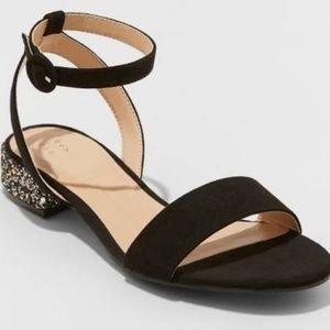 Shoes - NEW Glitter Sandals Ankle Strap Black Sz 9 Rose